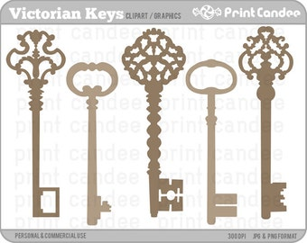 Victorian Keys - Digital Clip Art - Personal and Commercial Use - graphics, scrapbooking, card making, cupcake topper