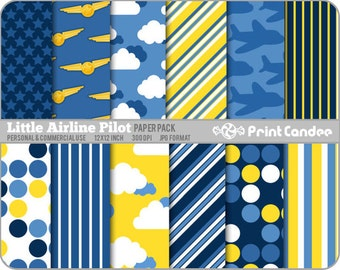 Little Airline Pilot Paper Pack (12 Sheets) - Personal and Commercial Use - blue yellow white planes dots stripes