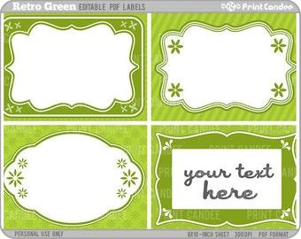Rectangle - Editable PDF (8x10) Retro Green Labels (No. 220) - Printable Labels / Cards