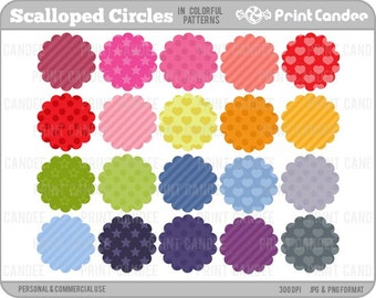 Scalloped Circles in Colorful Patterns (Set of 20) - Personal and Commercial Use - digital clipart clip art label
