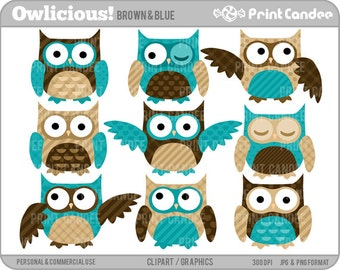 Owlicious (Brown & Blue) - Digital Clip Art - Personal and Commercial Use - whimsical owls printable, mod