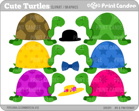 Cute Turtles - Digital Clip Art - Personal and Commercial Use -pond cute animals nursery pattern