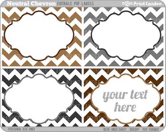 Rectangle Editable PDF 8x10 Neutral Chevron Labels