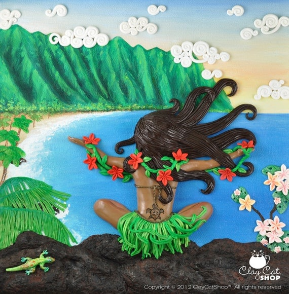 Aloha Spirit, ORIGINAL OOAK Polymer Clay Art by ClayCatShop