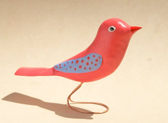 Colorful Bird Carving on Copper Wire Feet, Gift Idea, Wood Carving