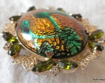 Juliana Green Gold Foil Brooch Olivine Rhinestones Filigree Leaves