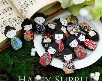 20pcs MIX Mini Handmade Colorful Japanese Doll Charms / Pendants (CWD06)