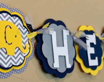 Its A Boy or Name Banner Elephant Chevron Stripe Polka Dot Yellow, Navy Blue, and Gray Baby Shower Birthday Party Decorations Banner