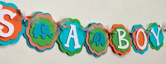 Elephant Its a Boy or Name Banner Orange, Turquoise Blue, and Lime Green Baby Shower Polka Dot Party Decorations