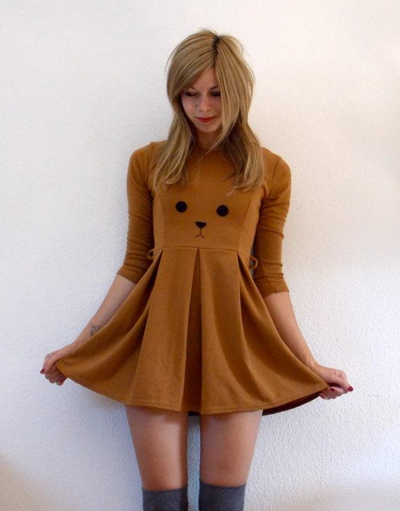 Cute Bear Skaterdress with long sleeves