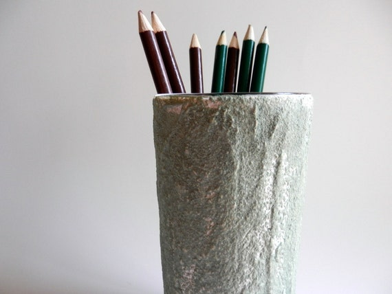 Rustic pencil holder / pen cup / office decor / green and white /  painted pencil cup