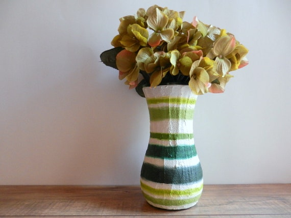White and Green Vase / Painted Vase / neutral green home decor