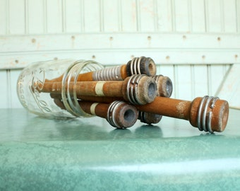 Wood Spools - Antique Industrial Wooden Textile Bobbins, Spindles, Quills, Trims Organizer, Rustic Decor, Set of 6