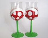Piranha Plant Wine Glasses - Two Hand Painted Mario Inspired Wine Glasses