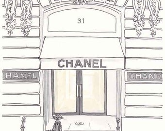 Chanel Boutique Paris illustration - giclee print