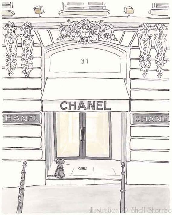 Chanel Boutique Paris illustration - giclee print