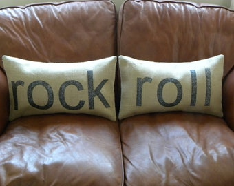 Pair of burlap rock and roll glitter lumbar pillow cushion covers