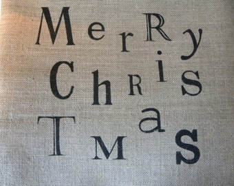 READY TO SHIP (hessian) christmas pillow cover
