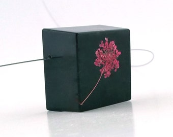 Limited Edition Sale! Black Botanical Resin Necklace with Bright Pink Ammi.