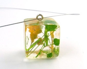 Yellow and Green Baby's Breath Resin Pendant. Green and Yellow Resin Necklace.   Real Pressed Flowers -  Gardener's Gift