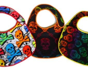 Rainbow Skulls Baby Bibs - set of 3 bibs