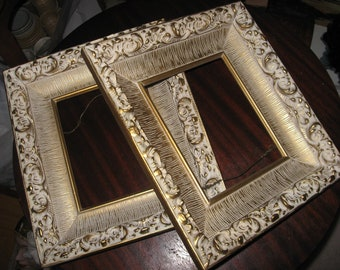 Two Vintage Amazing Frame pair Wood and Composition Cream Gold Recessed 1950 Era Nice Condition Matching Frame Pair
