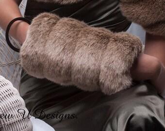 Frosted light brown Faux fur Muff  winter wedding formal handwarmer Regular size