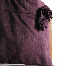 Plum Pinstripe Purse - Wool Shoulder Bag - Autumn Fashion