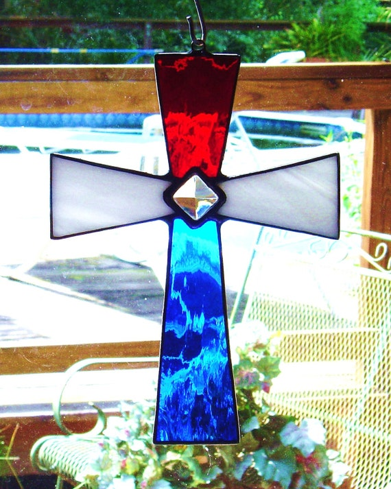 Red White & Blue Stained Glass Cross  Sun catcher with glass bevel Patriotic July 4h AMERICA