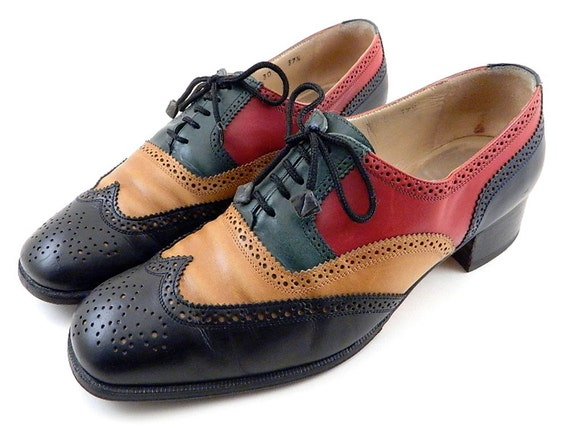 Vintage Coralie Paris 4 Tone Lace Up Oxfords Womens size 7.5 8 Made in Italy