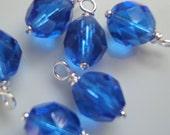 10 - Handmade 6mm Czech Bead Dangles-Charms Med. Saphhire Blue