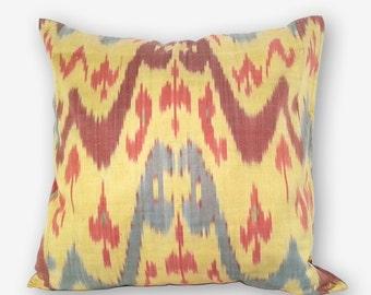15x15 yellow ikat pillow cover, ikat pillow, uzbek ikat, ikat fabric