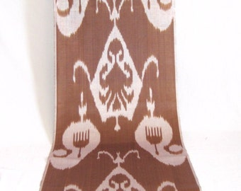 SALE for solid brown ikat fabric by the yard, brown fabric, design fabric, authentic ikat, table runner, table cloth, interior design