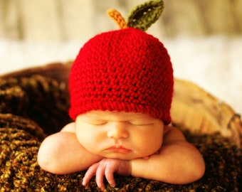 Baby APPLE Hat CROCHET PATTERN in 5 sizes 0-10 years, Baby Child An Apple a Day