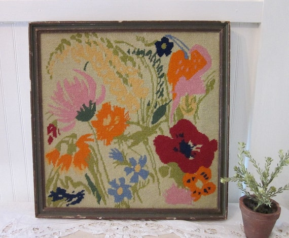vintage Needlepoint, Cottage Flowers, Chippy Framed Wildflowers Floral Needlework . Cheerful bright shabby farmhouse prairie urban art decor