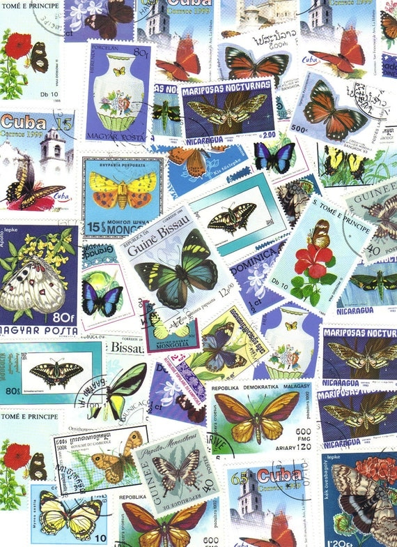 25 Butterfly blues - vintage postage stamps