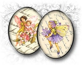 INSTANT DOWNLOAD - Flower Fairy 30 x 40 mm Oval Images Digital Images Download and Print