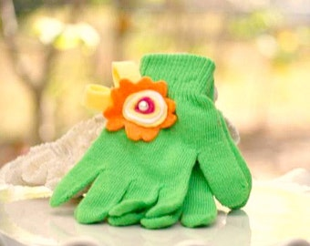 Lime Green Knitted Gloves Orange Yellow Flower Ivory Pearl. Warm Hands, Bright Colorful Winter Birthday, Toddler Preteen Hanukkah Girly Gift