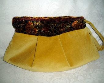 Soft Mustard Velvet Clutch