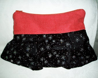 Coral and Black Velvet Clutch with sprinkle of stars