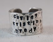 Personalized Ring Mother Ring Hand Stamped Ring Name Ring Engraved Ring