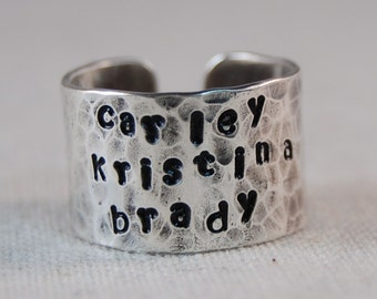 Name Ring Mothers Ring Hand Stamped Ring Personalized Name Ring Custom Name Ring