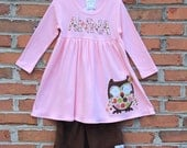 Girls Custom Appliqued Owl Pink Knit Dress...Ready for Delivery...Available in Size 18M, 2, 4 and 6