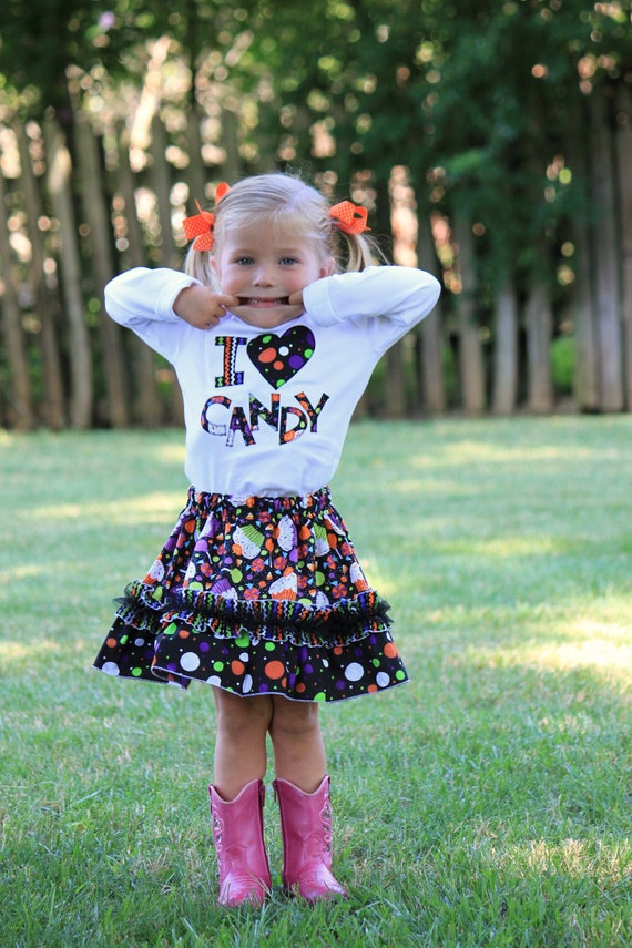 Girls Halloween Candy Ruffle Skirt...Ready for Delivery...Available in Size 18m, 2, 4, and 6