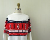 Vintage Mens Sweater .. 1970s Chunky Ski Sweater .... Nordic Design ...  Mens Size Medium