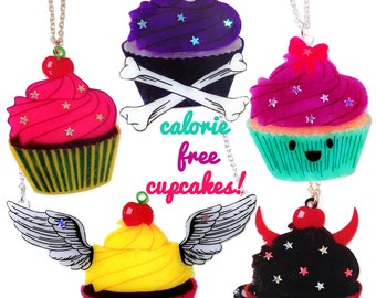 Cupcake Necklace - Angel, Devil, Kawaii, Bright, Poison CHOOSE YOUR FLAVOUR - winged, horned, cute, pink, pirate