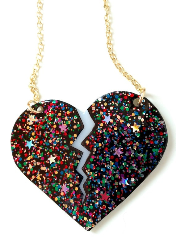 Broken Heart Necklace - Rainbow Glitter and Stars - Black and White Plastic Heart