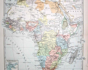 1894 africa map original antique map print no. C