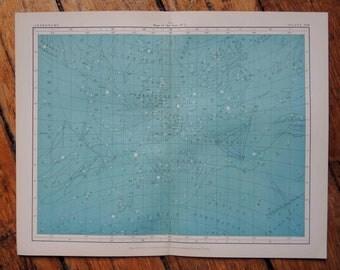 1908 blue astronomy chart original antique celestial print - map of the stars no 3