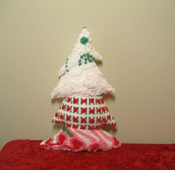 Whimsical Topsy Turvy Vintage Red Rosebud Chenille Christmas Tree Pillow